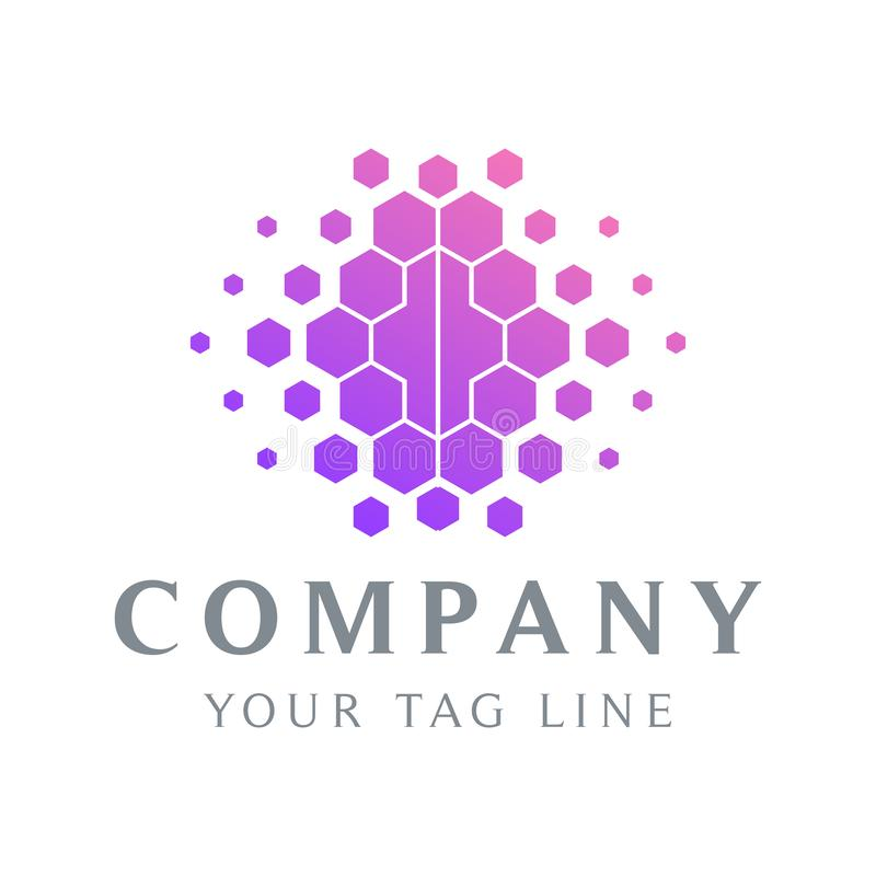 Abstract brain logo template with a modern and cool design royalty free illustration