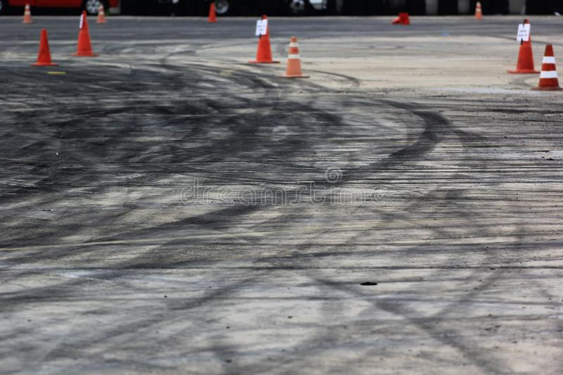 Abstract brakes of car on the race track background, asphalt road stock photo