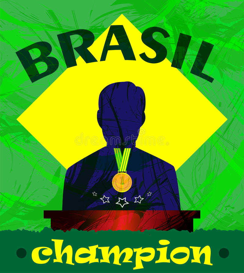Abstract Brazil champion design with a man silhouette and first place medal stock illustration