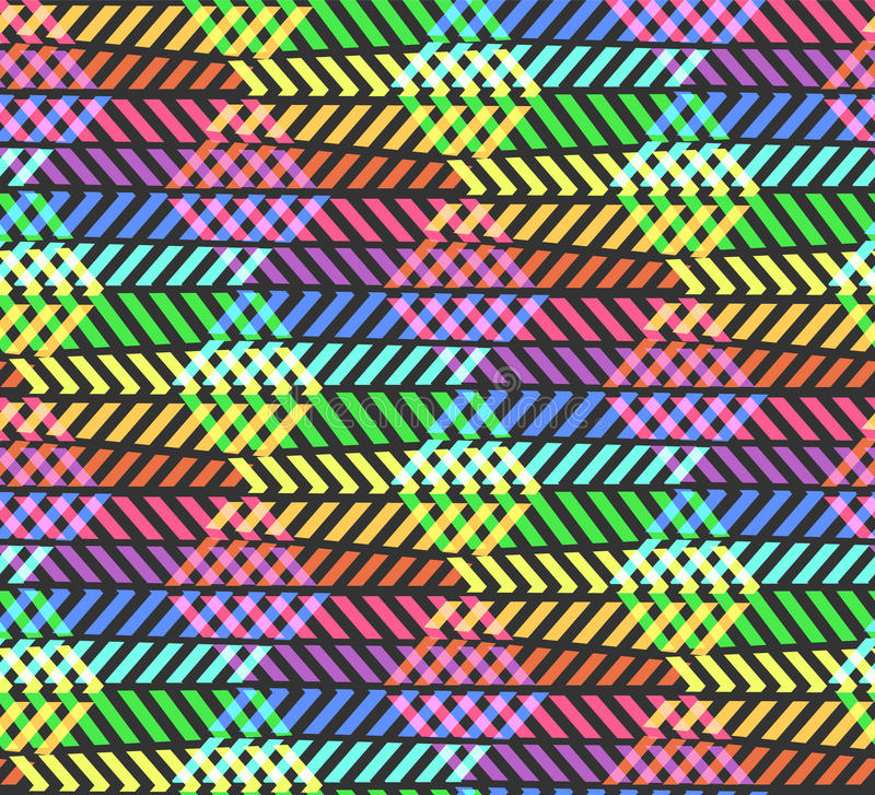 Abstract break zigzag rainbow pattern with rhombus. Vector colorful contrast sunbow colors texture for youth textile, wrapping paper, covers, banners royalty free illustration