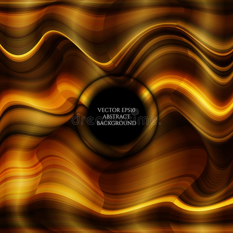 Abstract bright background of distorted wave forms. Shades of gold. Space for text. vector illustration