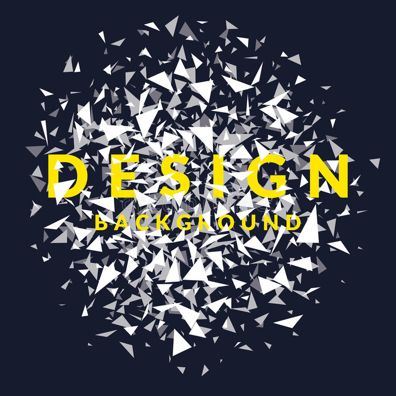 Abstract bright background with the explosion of the white triangles and the word design. royalty free illustration