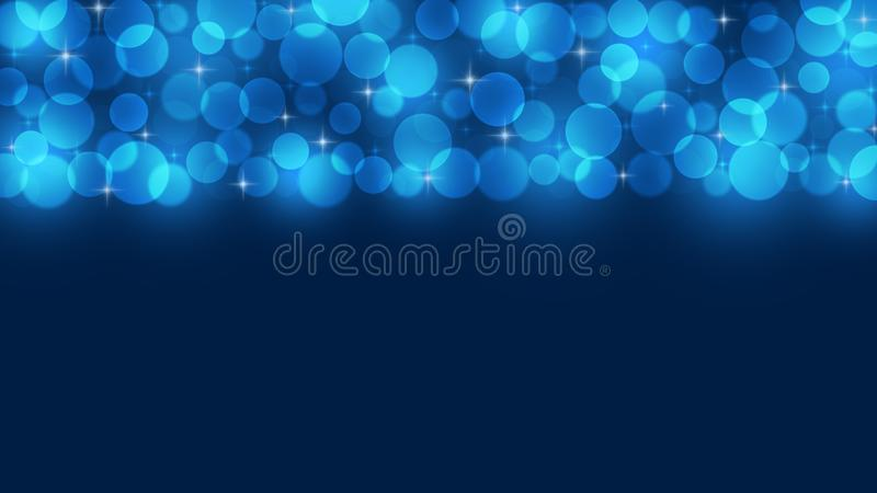 Abstract Bright Blue Light Sparkles and Bokeh in Dark Background stock image