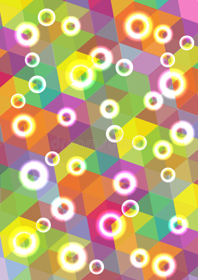 Abstract bright bubbles background. Color illustration with bright bubbles and mosaic shapes royalty free illustration