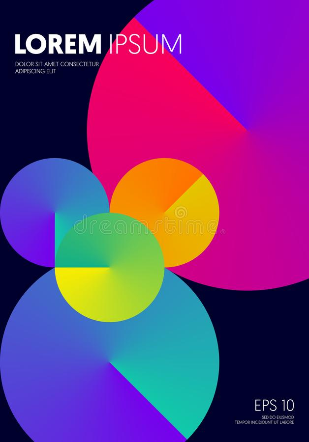 Abstract bright color circle gradient modern futuristic background decorative with geometric shape. Can be used for poster, backdrop, publication, brochure stock illustration