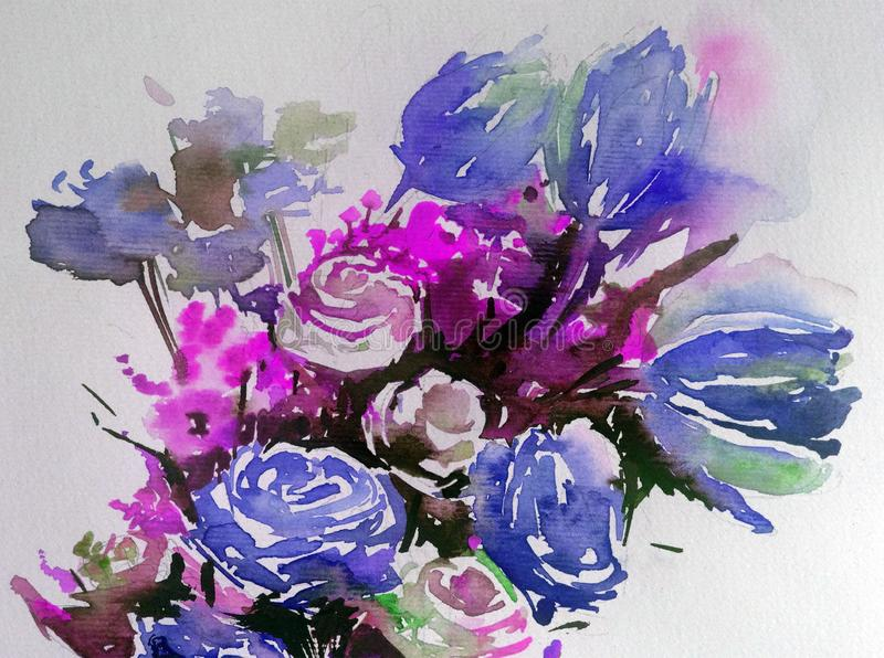 Watercolor abstract bright colorful textural background handmade . Painting of bouquet of spring flowers royalty free illustration