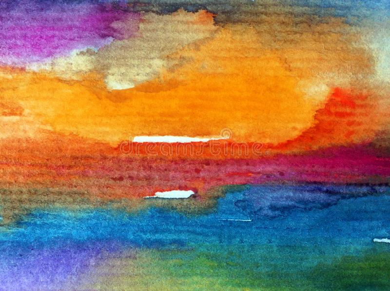 Watercolor abstract bright colorful textural background handmade . Painting of sky and clouds during sunset . Modern cosmic patter stock illustration