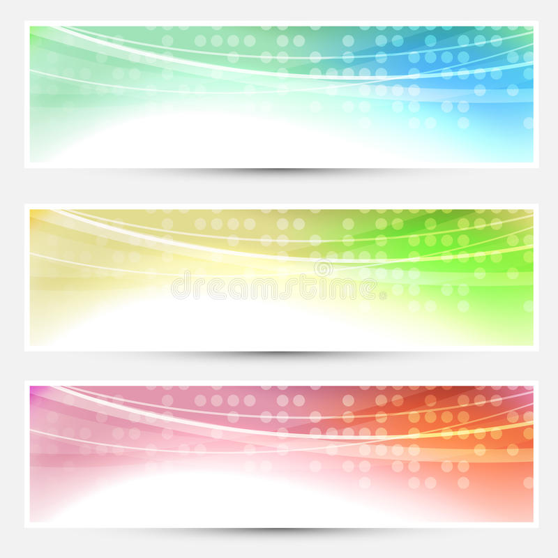 Abstract bright colorful banners set - web stock illustration