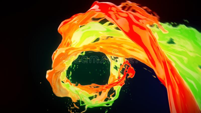 Abstract bright colorful liquid vortex flow with splashes 3D illustration stock illustration