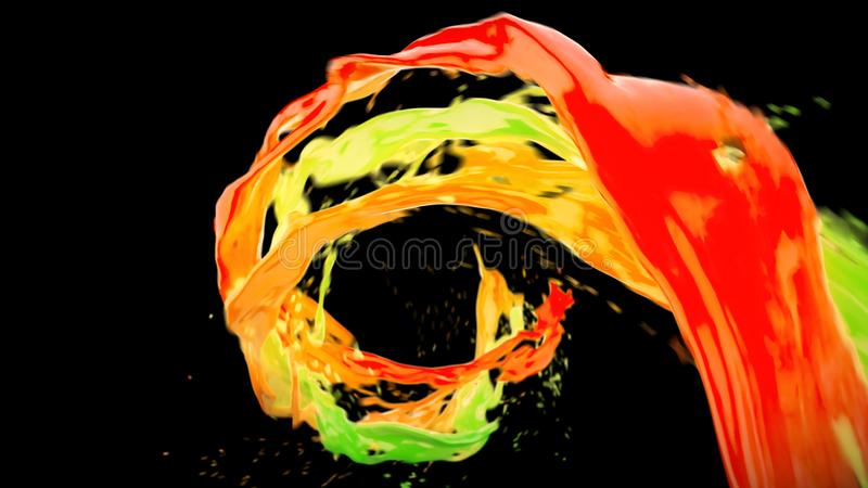Abstract bright colorful liquid vortex flow with splashes 3D illustration royalty free illustration