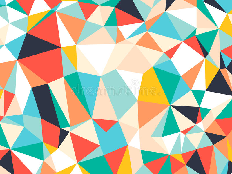 Abstract bright colorful random triangle geometric background, Vector Illustration pattern. Geometric design for business, wallpaper, spring autumn backdrop stock illustration