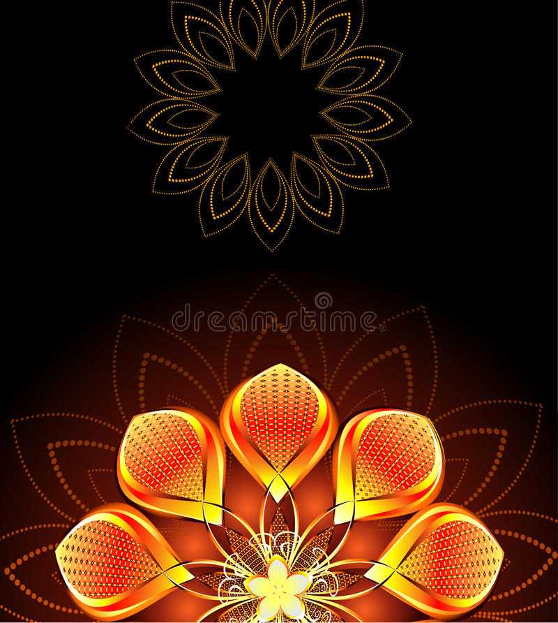 Abstract bright flower. Abstract, gold, bright flower on dark background royalty free illustration