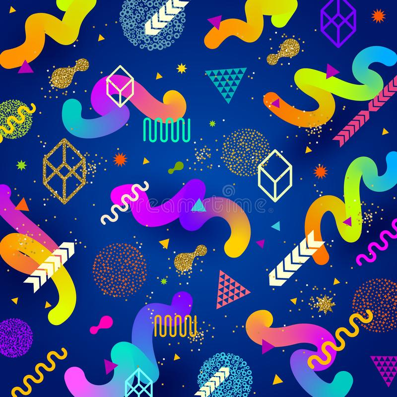 Abstract bright background with multicolored geometric shapes royalty free illustration