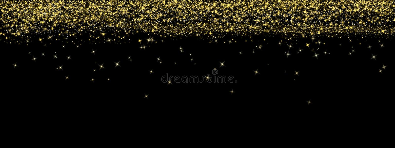 Abstract Bright Golden Glitters Falling in Dark Background Banner stock image