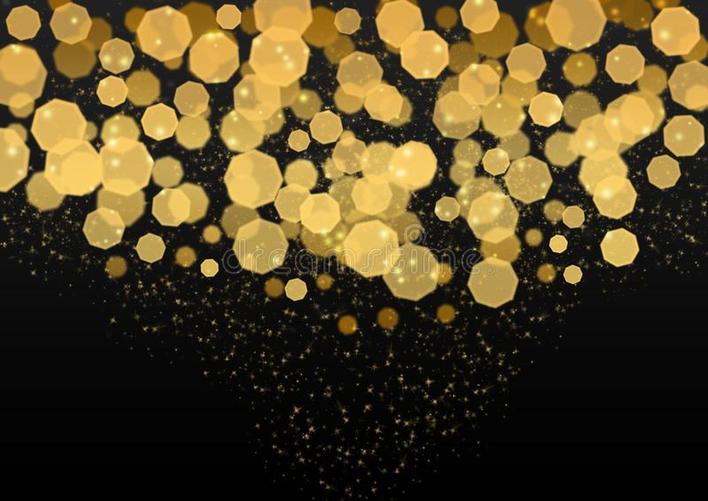 Abstract Bright Golden Lights, Glitters and Bokeh in Dark Background royalty free stock photo