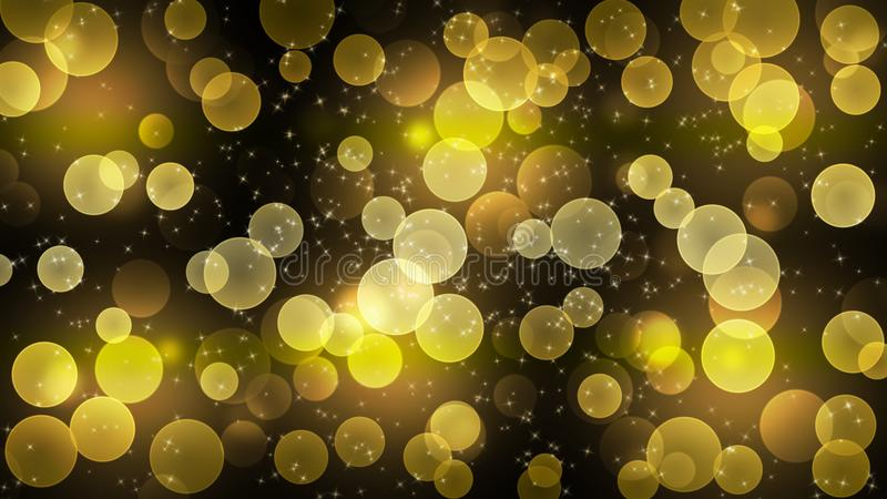 Abstract Bright Golden Lights, Glitters and Bokeh in Dark Background stock image