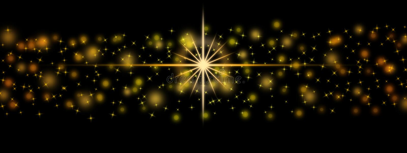 Abstract Bright Golden Lights, Sparkles and Bokeh in Dark Background Banner royalty free illustration