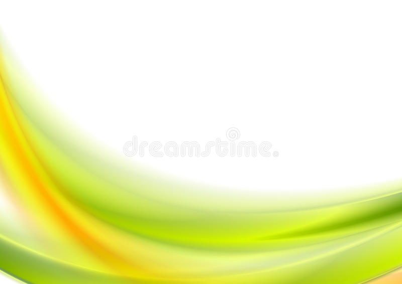 Abstract bright green and orange wavy background stock illustration