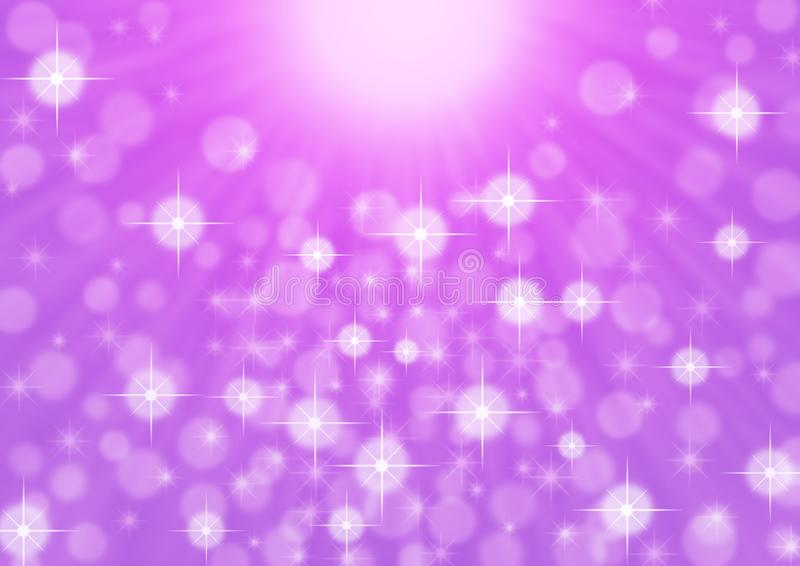 Abstract Bright Light Rays, Sparkles and Bokeh in Purple Background royalty free stock images