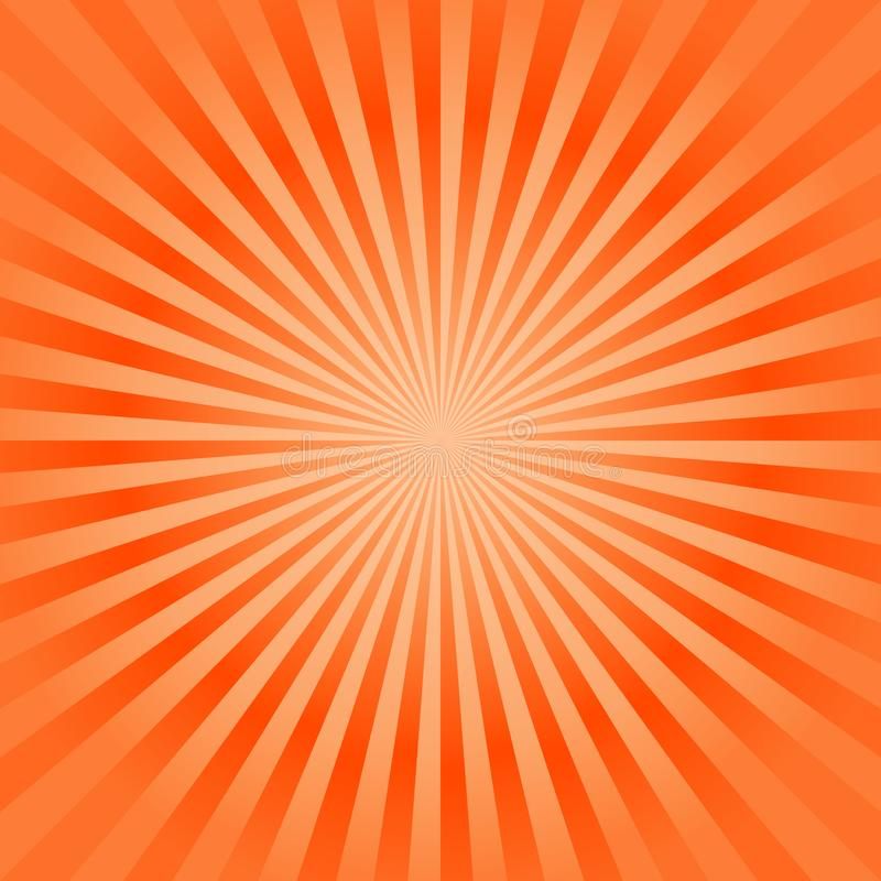 Abstract bright Orange rays background. Vector stock illustration