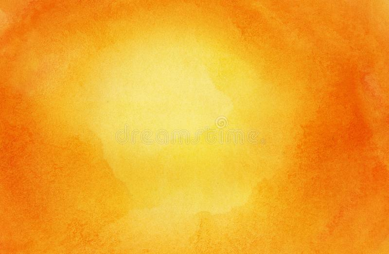Abstract bright orange sun, watercolor background, painted on watercolor paper.  stock photos