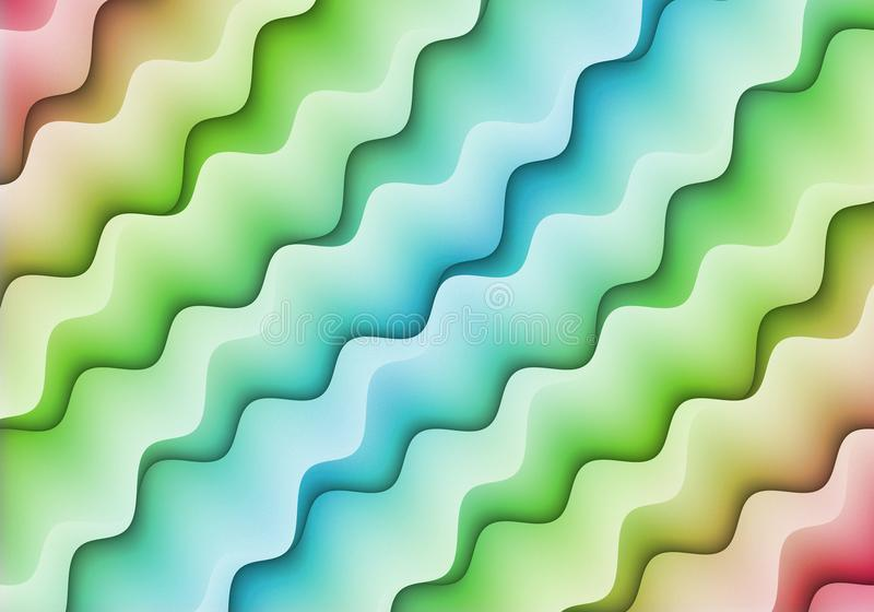 Abstract Bright Pink Green Blue Colorful Diagonal Squiggle Shapes Pattern Design Background vector illustration