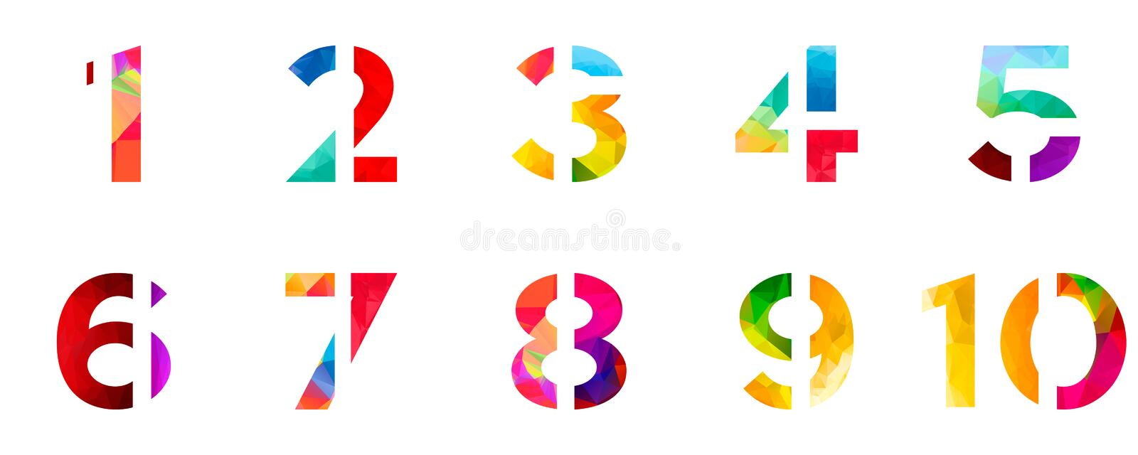 Abstract bright rainbow polygon number alphabet colorful font style. one two three four five six seven eight nine ten zero digits. vector illustration