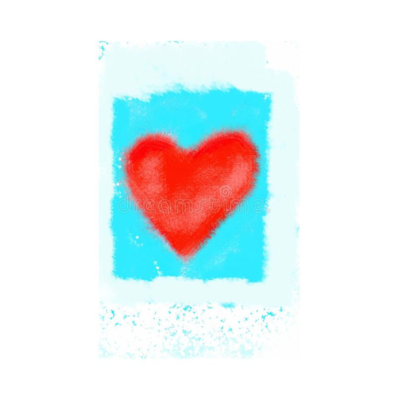 Abstract bright red heart on blue background royalty free illustration
