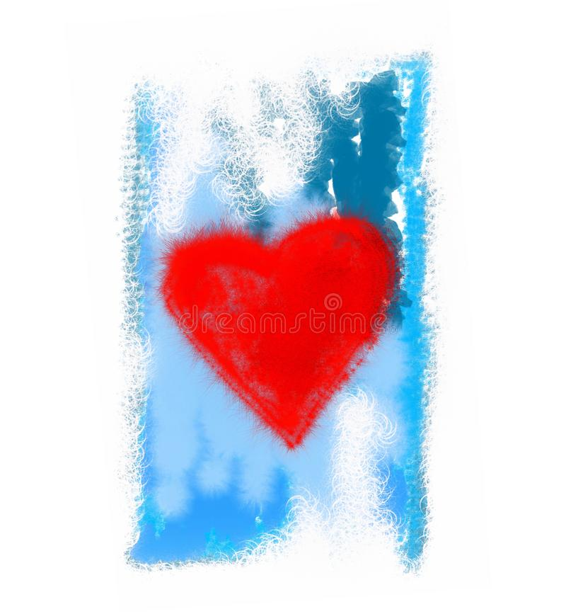 Abstract bright red heart on blue background vector illustration