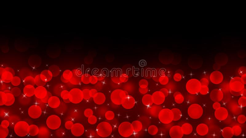 Abstract Bright Red Light Sparkles and Bokeh in Dark Background royalty free stock photo