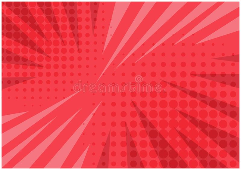 Abstract bright red striped retro comic background. With halftone corners and scratches. Cartoon pink wallpaper with stripes and half tone pattern for comics royalty free illustration