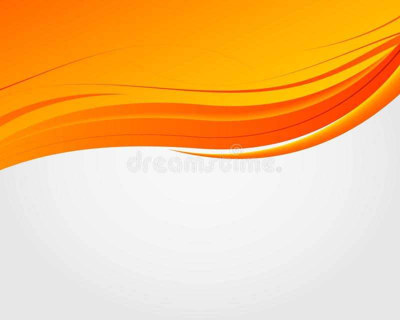 Abstract bright soft design background with orange wavy curved lines in dynamic smooth style. Vector. stock illustration