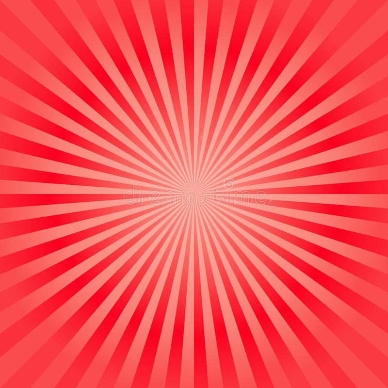 Abstract bright soft Red rays background. Vector stock illustration