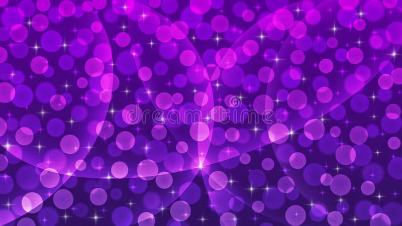 Abstract Bright Sparkles, Curves and Blurred Bokeh in Dark Purple Background royalty free stock image