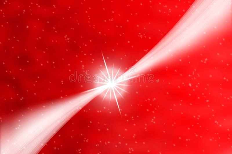 Abstract Bright Star with White Curves and Falling Snow in Red Background royalty free stock photo