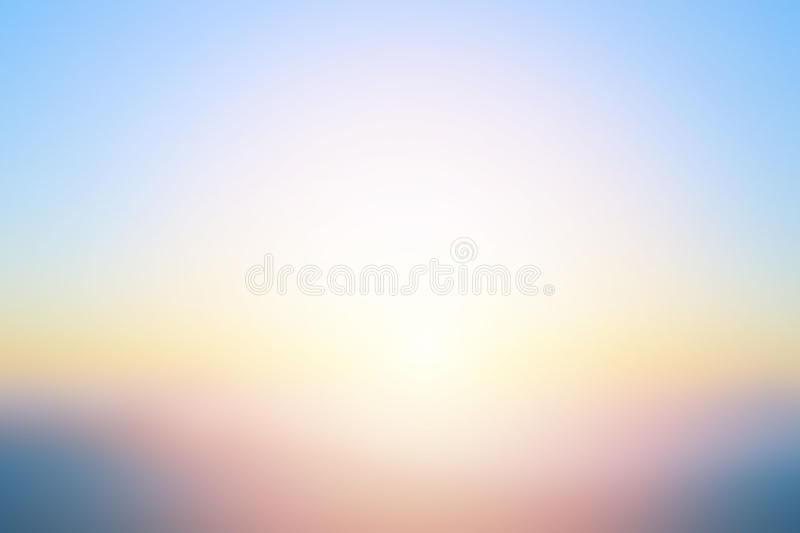 Abstract bright sunset with de focused sun lights blurred background stock photo