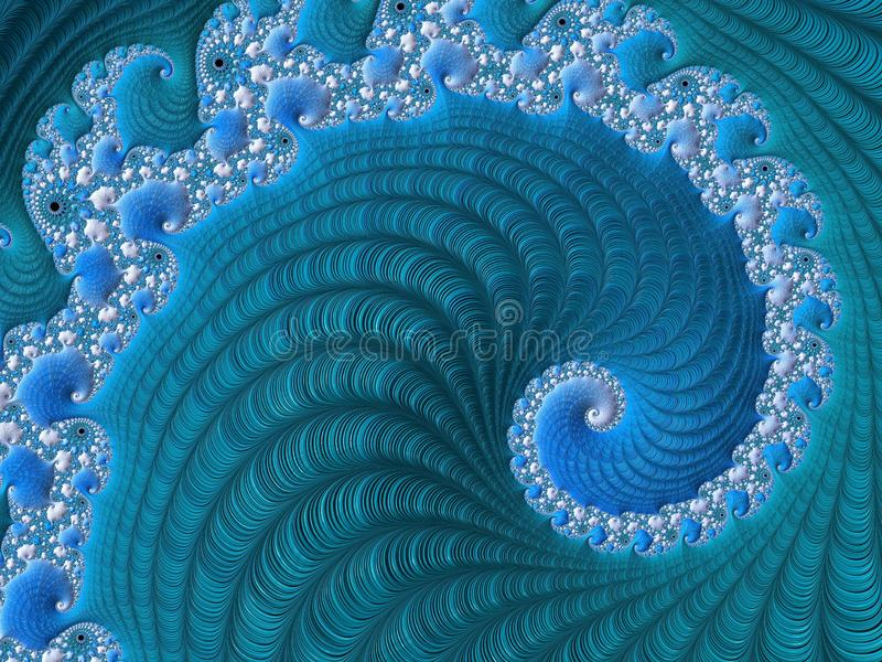 Abstract bright textured spiral fractal in blue colors. Fairy background for for posters, website, flyer design. Computer. Generated graphic vector illustration