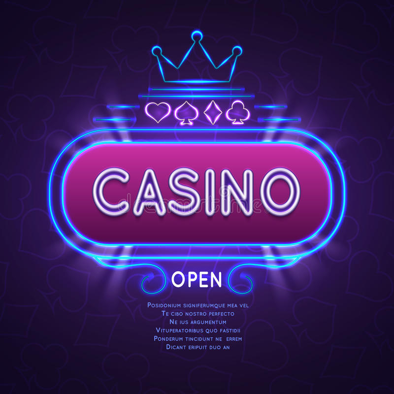 Abstract bright vegas casino banner with neon frame. Vector gambling background stock illustration