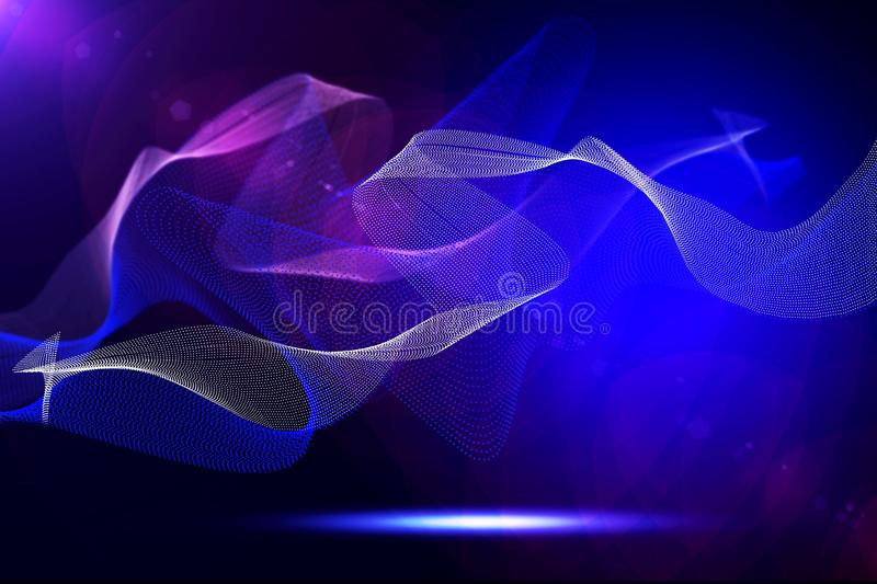 Abstract bright wavy lines on a dark blue background royalty free stock photography
