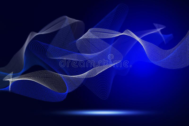 Abstract bright wavy lines on a dark blue background royalty free stock photos