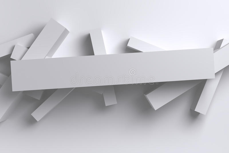 Abstract bright white 3D low polygon geometric boxes background royalty free illustration
