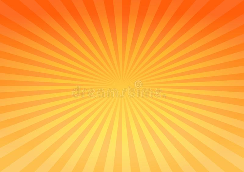 Abstract bright Yellow Orange gradient rays background. Vector EPS 10, cmyk royalty free illustration