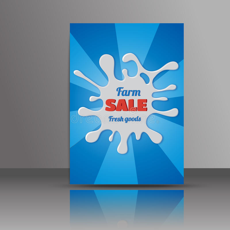 Abstract brochure design.Flyer with milk splash.Layout in A4 size. Sale flyer royalty free illustration