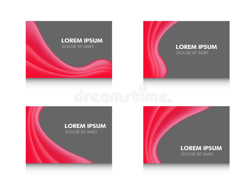Abstract brochure flyer banner design, red wavy in black modern shining Vector illustration template set on white background stock illustration
