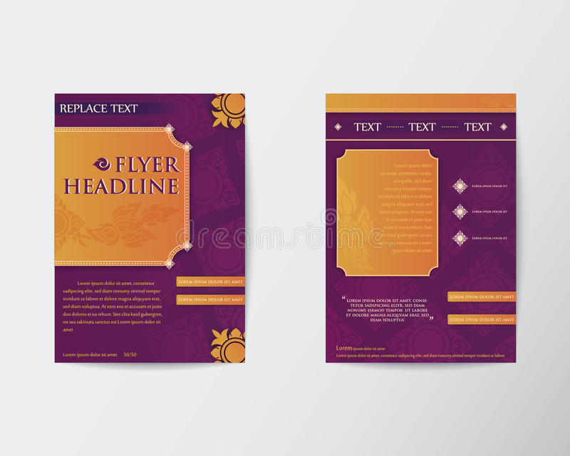 Abstract Brochure Flyer Thai style template in A4 size royalty free illustration