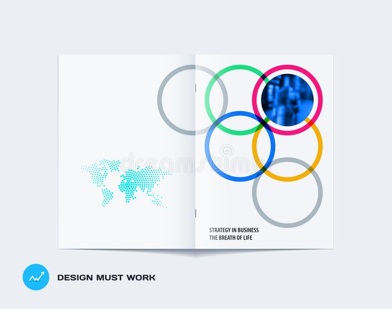 Download Abstract Double-page Brochure Design Round Style With Colourful Circles For Branding. Business Vector Partnership Stock Vector - Illustration of isolated, minimal: 117926011