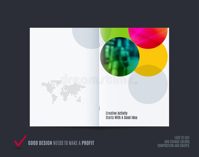 Download Abstract Double-page Brochure Design Round Style With Colourful Circles For Branding. Business Vector Partnership Stock Vector - Illustration of beautiful, communication: 117926025