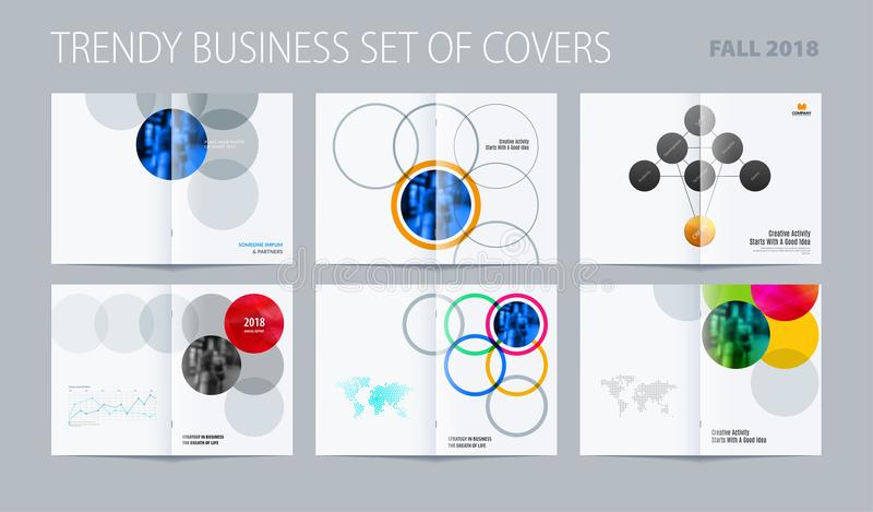 Download Abstract Double-page Brochure Design Round Style With Colourful Circles For Branding. Business Vector Partnership Stock Vector - Illustration of isolated, abstract: 117926081
