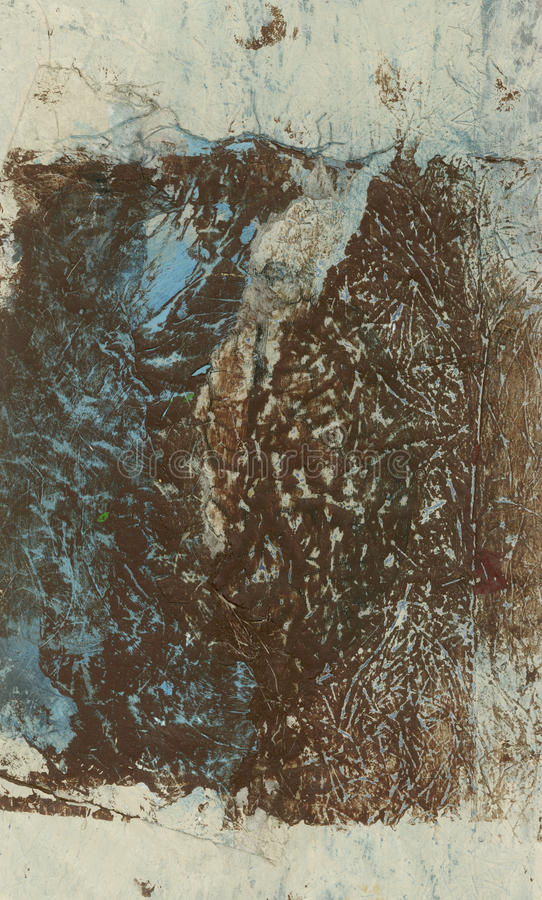 Abstract Brown Beige Blue Painting With Textures stock illustration