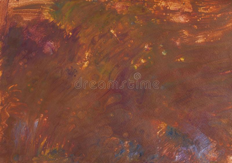 Abstract brown picture in fluid acrylic technique. Abstract picture hand-painted in fluid acrylic flow painting technique by brown paints on paper royalty free illustration